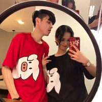 B新年猪猪短袖T恤女春装2019新款韩版宽松洋气打底衫情侣装上衣