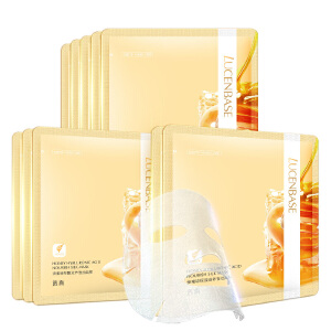 透真蜂蜜玻尿酸面膜10片补水保湿滋养修护蚕丝面膜贴女护肤化妆品