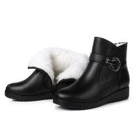 冬季妈妈棉鞋女平跟羊毛保暖防滑奶奶短靴中老年平底老人棉皮鞋43