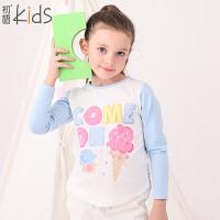 初语童装 冬装新款 女童T恤 长袖字母圆领可爱打底衫 T5301110052