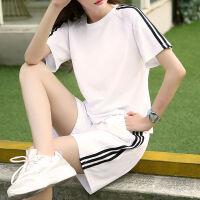 休闲运动套装女夏跑步运动服大码两件套短袖宽松五分短裤晨跑 白色 (1389一套)