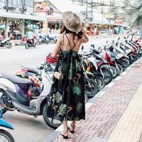 2018女夏波西米亚巴厘岛沙滩裙海边度假吊带连衣裙碎印花长裙 黑色 现货