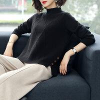 №【2019新款】冬天美女穿的加厚羊绒毛衣女套头半高领长袖短款宽松打底衫秋