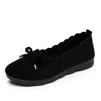 新款老北京女鞋酒店工作鞋黑色舒适单鞋软底蝴蝶结