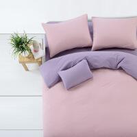 【人气】慢漫针织棉四件套 纯色素色莫代尔被套被子被罩床笠北欧式春夏季 1.8m(6英尺)床