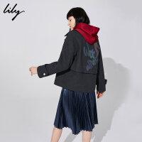 【25折到手价:339.75元】 Lily秋新款女装深灰羊毛大翻领宽松印花毛呢外套118420F3104