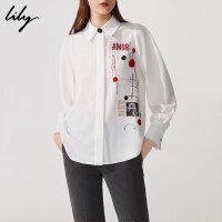 【6/4-6/8 一口价:179元】 Lily春女装商务通勤印花直筒白色长袖衬衫118420C4503