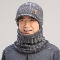 老人帽男冬天保暖中老年帽子围脖冬季爸爸鸭舌帽中年老头冬帽
