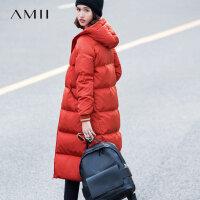 Amii极简韩版时尚90白鸭绒羽绒服女2018冬新款中长款过膝加厚外套