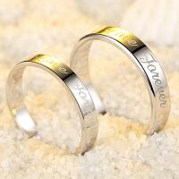 情侣戒指一对食指环女潮人英文创意刻字纯银对戒子