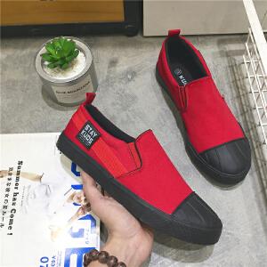 2017男士潮流帆布鞋韩版一脚蹬懒人低帮学生运动休闲鞋板鞋