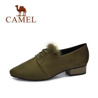 camel/骆驼女鞋 2017秋季新款 时尚貂毛饰尖头女单鞋 浅口低跟粗跟单鞋