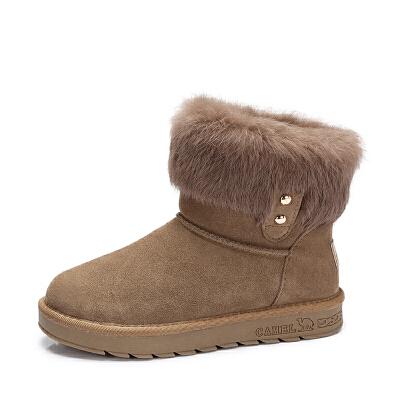 camel/骆驼女鞋 2017秋冬新款舒适兔毛短筒女靴简约百搭平跟保暖雪地靴