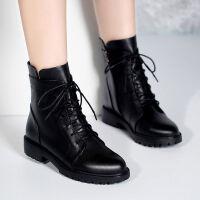 马丁靴女英伦风短靴ins网红冬天靴子女冬中长款切尔西短靴女黑色