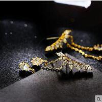 韩国时尚百搭气质新款s925银针耳钉耳环女欧美微镶锆石叶子翅膀水滴耳饰潮
