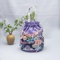 原创手工布艺女式包包新款春夏抽绳束口手提包日韩和风棉麻女包小