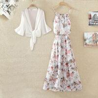 雪纺沙滩裙宽松长裙波西米亚碎花印花吊带连衣裙单件/套装可选