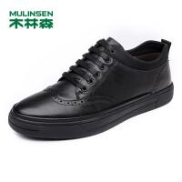木林森男鞋休闲鞋 秋季新款男士板鞋头层牛皮鞋潮流透气鞋子男77053605