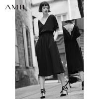 Amii[极简主义] 2017夏小黑裙大V领拼蕾丝连袖中长连衣裙11792546