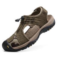 夏季沙滩鞋男头层牛皮凉鞋男包头透气休闲鞋防滑厚底户外男鞋