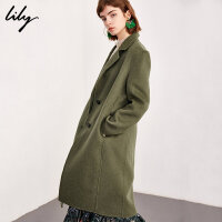 【25折到手价:549.75元】 Lily春秋新款女装经典纯色双面呢羊毛修身系带大衣毛呢外套1922