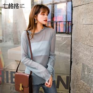 七格格很仙的上衣显瘦洋气2019新款春装长袖T恤女宽松内搭打底衫