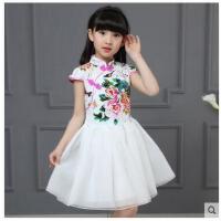 女童青花瓷旗袍儿童中国风唐装连衣裙小女孩主持人礼服古筝演出服儿童服装支持礼品卡支付