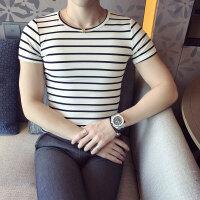 新款时尚条纹圆领T恤个性英伦气质男短袖百搭帅气社会小伙衬衫