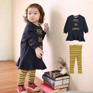 小童套装字母连衣裙条纹打底裤秋冬裙套装