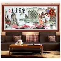 客厅大幅钻石画紫气东来风景山水画十字绣点钻贴砖十字绣沙发背景