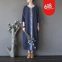 原创设计民族风女装大码提花连衣裙复古中国风拼接刺绣宽松长袍子GH087 藏蓝色 均码
