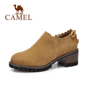 camel/骆驼女鞋 2017秋季新品时尚花边高跟鞋 复古英伦风磨砂皮粗跟单鞋