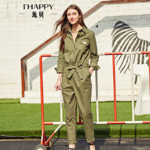 海贝2017年秋季新款女装 翻领休闲高腰系带连身裤
