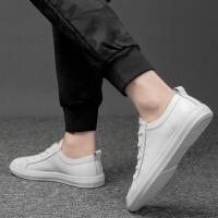 男鞋2019春季新款真皮商务皮鞋的鞋子男青年韩版休闲鞋子潮百搭男士板鞋