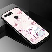 华为荣耀V20手机壳玻璃男彩绘PCT-AL10可爱卡通保护套MOSCHINO联名版软硅胶
