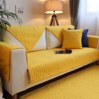 纯色北欧沙发坐垫纯棉布防滑现代简约四棉沙发垫套巾定做