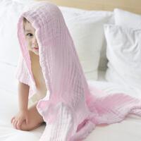 [当当自营]三利 A类标准纯棉纱布婴儿浴巾 浅粉色  柔软舒适毛巾被 吸湿透气裹巾抱被 新生儿盖毯