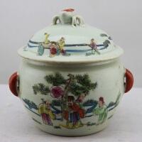 大清同治年粉彩婴戏图饭鼓 盖罐 做旧仿古瓷器 古玩古董收藏摆件