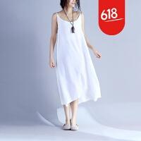 原创会呼吸的吊带裙17夏季新款原创设计文艺女装天丝棉宽松超长连衣裙GH061 均码