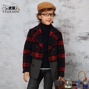 小虎宝儿童装男童毛呢大衣外套 中大童呢子冬装儿童格子拼接夹克