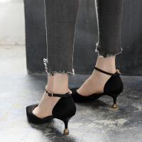 女士凉鞋2019新款一字扣高跟鞋5cm中跟夏季仙女鞋细跟猫跟鞋百搭夏季百搭鞋