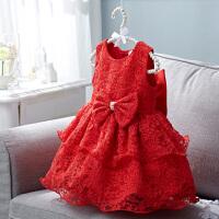 公主裙女童礼服花童蓬蓬纱裙主持人红色演出服周岁宝宝婴儿连衣裙