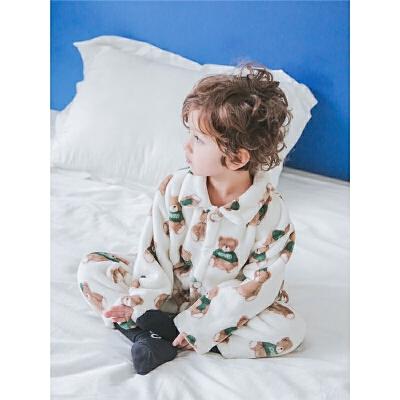 宝宝家居服男1-3岁男童套装小童冬装
