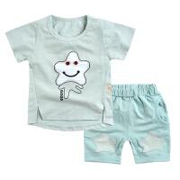 宝宝夏装衣服短袖短裤两件套儿童夏款服装婴儿肩扣男女童休闲套装 浅绿色 简洁五星