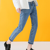 初语 2017秋装新款微宽水洗九分裤女牛仔裤时髦裤脚直筒裤女裤子