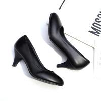 舒适中跟面试礼仪职业女鞋黑色大码学生高跟鞋软面工作女单鞋