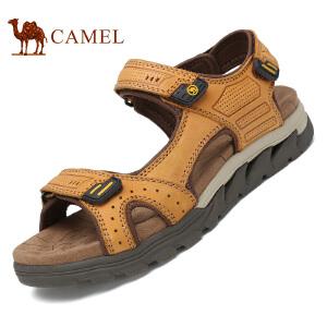 骆驼牌 男鞋 新品户外休闲露趾沙滩鞋男士厚底牛皮凉鞋