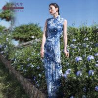 生活在左植物染系列秋季新款原创设计女装端庄大气无袖改良版旗袍