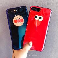 蓝光可爱卡通苹果X手机壳7plus软硅胶套iphone8带挂绳6s情侣男女 6/6S 4.7寸 红色