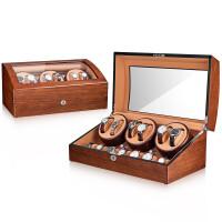 摇表器 机械表 机械表转表器摇摆器家用自动上链手表收纳盒表盒子 6+7 (水曲柳+驼绒棕)